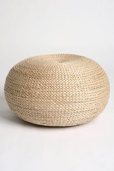 Rattan Pouf-Urban Outfitters -(Pouf, in woven rattan. Works as a seat, ottoman, small shelf, stool. Rattan Furniture, Home Furniture, Rattan Ottoman, Home Decoracion, Low Stool, Interior Design Living Room, Home Furnishings, Wicker, Rattan Basket