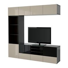 BESTÅ, TV storage combination/glass doors, black-brown, Selsviken high gloss/beige smoked glass