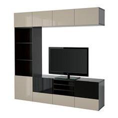 "BESTÅ TV storage combination/glass doors, black-brown, Selsviken high gloss/beige smoked glass - 94 1/2x15 3/4x90 1/2 "" - black-brown/Selsviken high gloss/beige smoked glass - drawer runner, soft-closing - IKEA"