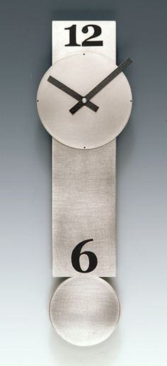 Narrow Steel Pendulum Clock: Leonie Lacouette: Metal Clock - Artful Home