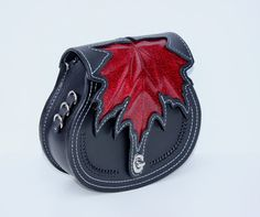 Red Maple Leather CrossBody Purse Belt Pouch by TaurusSeats