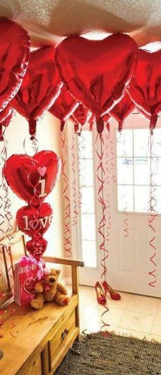 Romantic Valentines Day Decorations Ideas for home and date night. Plan a perfect valentines surprise. Birthday Balloon Decorations, Valentines Day Decorations, Bridal Shower Decorations, Birthday Balloons, Birthday Parties, Birthday Ideas, Birthday Cakes, Happy Birthday, Valentines Surprise