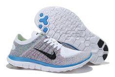 Die Neueste Nike Free 4.0 Flyknit Laufend Schuhe Für Frauen/damen Blau Weiß Grau, Weiblich Nike Frei V4 Bestellen