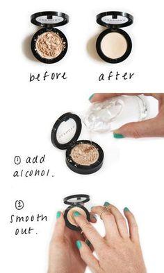 Arregla las sombras y los polvos compactos que se te han quebrado con un poco de alcohol… | 42 consejos para ahorrar dinero que todo adicto al maquillaje debe conocer