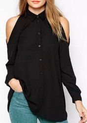 Chic Polo Collar Black Long Sleeve Blouse For Women