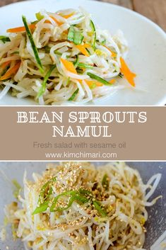 Bean sprouts namul make a refreshing vegetable side dish. It accompanies most main dishes and has a slight sesame taste :) #kimchimari #korean #koreanfood #sukju #beansprouts #salad