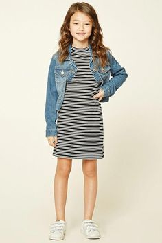 Forever 21 Girls - A ribbed knit shift dress featuring an allover striped pattern mock neckline buttoned keyhole back and sleeves. - May 04 2019 at Fashion Kids, Preteen Fashion, Trendy Fashion, Girl Fashion, Fashion Outfits, Fashion 2016, Ladies Fashion, Fashion Clothes, Spring Fashion