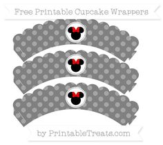 Free Grey Dotted Pattern Minnie Mouse Scalloped Cupcake Wrappers