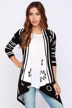 Great black and white cardigan.
