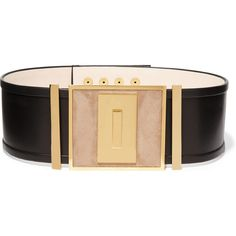 Balmain Leather and suede waist belt ($1,550) ❤ liked on Polyvore featuring accessories, belts, black, black belt, genuine leather belt, black waist belt, sanding belts and snap belt
