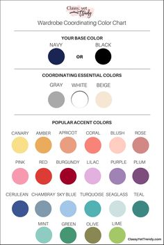 Wardrobe Coordinating Color Chart - Learn how to create a capsule wardrobe using the 5-step visual guide and this color chart! Step-by-step, you'll start your own capsule! Organize your closet with clothes, shoes and accessories and have several outfits for spring, summer, fall and winter.