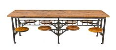 completely refinished original early 20th century american made vintage industrial eight seat swing-out factory lunch hall table with varnished pine wood top - Furniture - Products