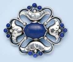 Lapis Lazuli and hand-hammered sterling silver brooch.  Georg Jensen, Denmark