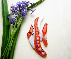 Fused glass fish Glass fish tile Mosaic fish tile by PlayTheGlass