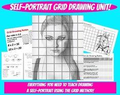 Self Portrait Grid Drawing Unit Face Proportions Lesson Value Visual Art Project