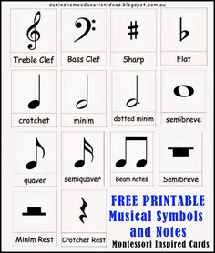 FREE PRINTABLE Musical Symbols and Notes cards