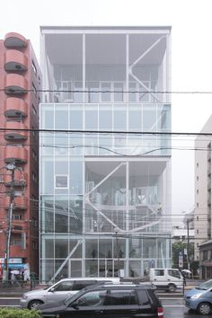 kazuyo sejima: shibaura house office building, tokyo. uses a steel screen instead of a rail