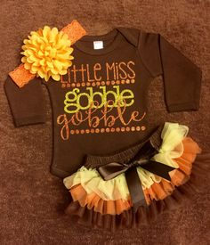 Infant Thanksgiving Outfit Gobble Gobble by KeepsakeKonnections Cute Baby Girl, Baby Love, Cute Babies, Baby Kids, Toddler Outfits, Kids Outfits, Infant Fall Outfits Girl, Newborn Outfits, Baby Outfits