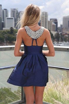 gorgeous navy black dress with detailed back