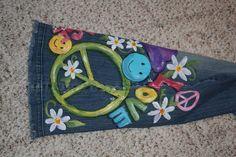 Artsy Fartsy Julie: Adult Blue Jeans - Custom Painting