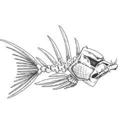 Sketch of evil skeleton fish with sharp teeth vector 1262133 - by sharpner on VectorStock®