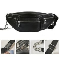 Vintage Rivets Pu Leather Fanny Pack Black Brown Pillow Waist Bag Men Fashion Belt Chest Bag Shoulder Crossbody Rivet Banana Bag Cool In Summer And Warm In Winter Men's Bags