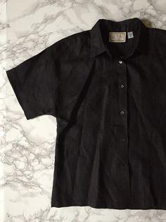 black linen button down top / 70s vintage linen by minminvintage