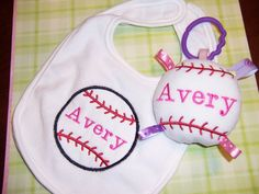 GIRLS BaseBall Baby Toy  & Bib SET  by deborahbabarskas on Etsy, $16.00