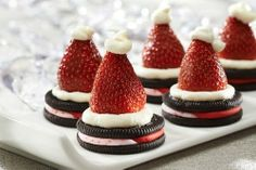 3. Santa Hat Oreo Cookies Here's a half healthy cookie that requires minimal ingredients! How do you eat your Oreos? Source: Sweep Tight