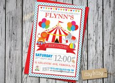 Circus Birthday Invitation Carnival 5th 4th by ItsyBitsyCreative
