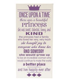 Loving this Cream & Purple 'Once Upon a Time' Wall Art on #zulily! #zulilyfinds