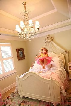 Big Girl Room  Lea furniture, Shabby Chic bedding from Target. Custom pink stripe Euro Pillows ordered from #LaylaGrace