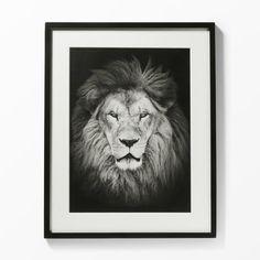 Tavla lejon, 40x50 cm, svart