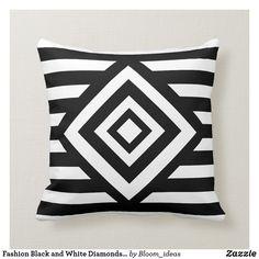 Shop Fashion Black and White Diamonds & Stripes Throw Pillow created by Bloom_ideas. Cute Pillows, Decorative Throw Pillows, White Diamonds, Fashion Black, Accent Pillows, Stripes, Black And White, Gifts, Design