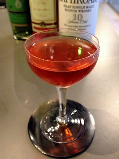 ★★★☆☆ - The End of the Road - 1 oz Islay scotch - 1 oz Campari - 1 oz green Chartreuse - stir and strain into coupe glass