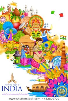Illustration about Illustration of India background showing its culture and diversity with monument, dance and festival. Illustration of cricket, india, editable - 74382880 Independence Day Drawing, Independence Day India, Festivals Of India, Indian Festivals, Incredible India Posters, Amazing Photos, Diversity Poster, Unity In Diversity, Cultural Diversity