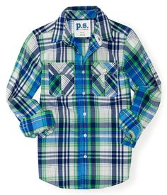 Kids' Long Sleeve Plaid Poplin Woven Shirt - PS From Aeropostale