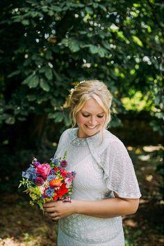 Cape Beaded Embellished Dress Gown Bride Bridal Vicky Rowe Colourful Cool Hand Made Wedding http://www.jonnybarratt.com/
