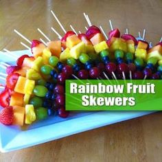 "Rainbow Fruit Skewers! Fun, Simple, Easy & Healthy. A great Project for Kids. No Cooking Involved & A Great Option for a Holiday or Party Fruit Platter: The idea of a ""Rainbow Fruit Kabob"" is simply to select fruit that matches the colors of the rainbow! Then slide the pieces onto skewers. Try to be consistent with placement so when you fan them out on a platter you get the ""Rainbow Effect"". by jody"