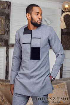Menswear brand Johnxzomo has released its lookboiok for its collection Rebirth featuring ex Mr. Nigeria and Nollywood actor Emmanuel Ikubese. African Dresses Men, African Attire For Men, African Clothing For Men, African Wear, Men African Shirts, Nigerian Men Fashion, African Men Fashion, Mens Fashion, Rock Fashion