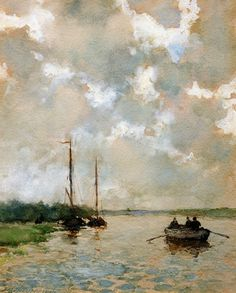 The Athenaeum - Rowing on the river (Johan Hendrik Weissenbruch - ) watercolour