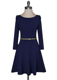 Maybe to wear for winter wedding? Feminine Flair Dress - Navy