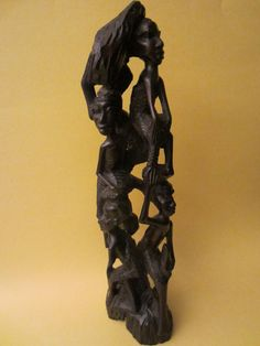 Tree of Life African Tribal Figurative Wood Sculpture
