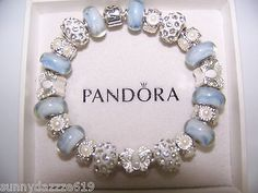 Authentic Pandora Silver Charm Bracelet Blue Muranos Crystal Beads Butterfly | eBay