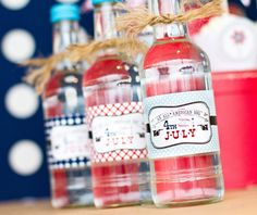 Lots of great July 4th party ideas.  Love the vintage-look labels.