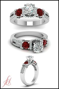 Sparkle Coronet Ring || Round Cut Diamond Side Stone Ring With Red Ruby In 14K White Gold