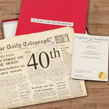 Original newspapers from 40 years ago, printed on the day they were born, make perfect 40th birthday gifts. Especially when presented in one of our stunning presentation options, which include gift boxes, folders and more. For the ultimate finishing touch to this special 40th birthday gift a personalised certificate of authenticity can be added at no extra charge.