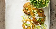 Whether they& a lunchtime snack or an easy main meal, these fritters are incredibly satisfying. We love the flavour combo of fresh avocado, tuna and zucchini. Chickpea Recipes, Healthy Recipes, Veg Recipes, Delicious Recipes, Seafood Recipes, Cooking Recipes, Easy Cooking, Cooking Ideas, Chickpea Fritters