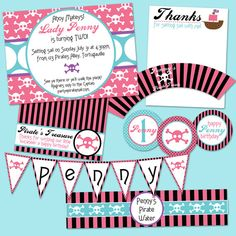 Lady Lily's Turning...Girl Pirate Party Pack Invitation Cupcake Topper water label