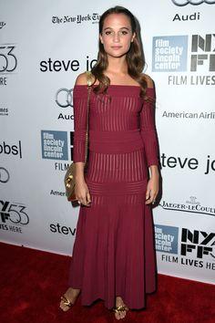 WHO: Alicia Vikander WHAT: Barbara Casasola WHEN: October 3, 2015 WHERE: Steve Jobs New York Film Festival premiere